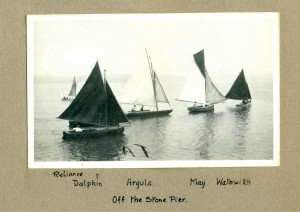 Reliance, Dolphin, Argula, May and Waterwitch off the stone pier