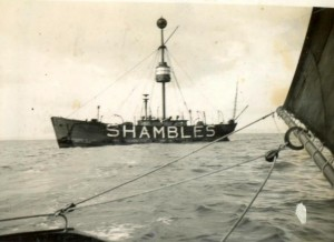 Sparrowhawk visits the Shambles Lightship 1936